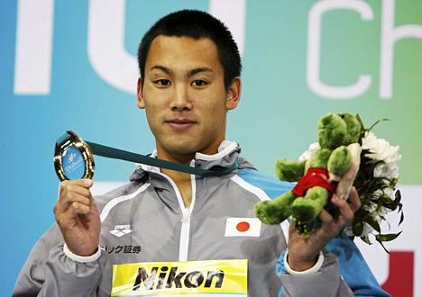 Naoya Tomita voitti 200 rintauinnin maailmanmestaruuden lyhyen altaan MM-kisoissa Dubaissa vuonna 2010.