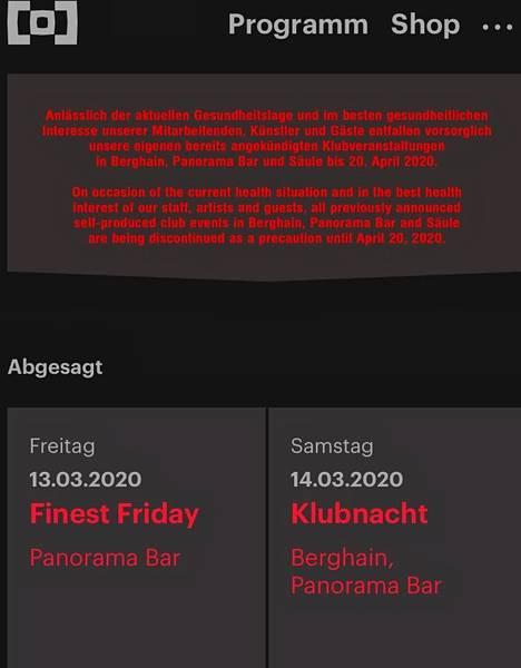 Berliinin kuuluisin teknoklubi on sulkenut ovensa monen muun tavoin ainakin 20. huhtikuuta asti. Ruutukaappaus ohjelmatiedoista.