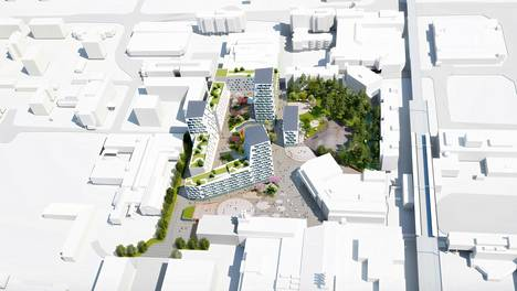 I <3 Myyrmäki -nimisessä ehdotuksessa Myyrmäen keskustan asuinrakentaminen koostuisi 6-15 kerroksisista taloista.