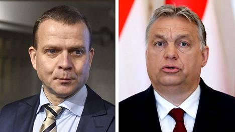 Kokoomuksen puheenjohtaja Petteri Orpo (vas.) ja Unkarin pääministeri Viktor Orbán.