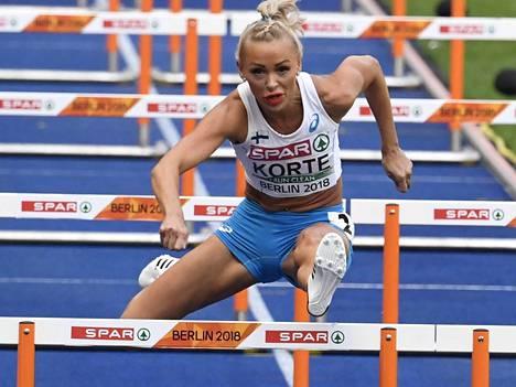 Annimari Korte jäi 100 metrin aitojen alkueriin Berliinin EM-kisoissa.