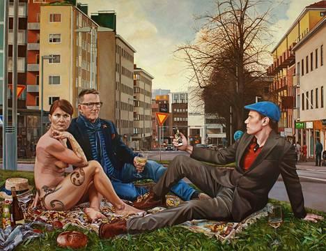 Anna-Liisa Kankaanmäen maalaukset ammentavat taidehistoriasta ja mytologiasta mutta kommentoivat myös tätä päivää. Kuvassa Piknik ruohikolla, 2020, akryyli ja öljyväri kankaalle