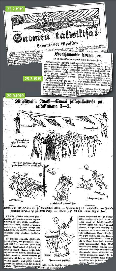 Näin Helsingin Sanomat kertoi urheilutapahtumista espanjantaudin raivotessa Suomessa.