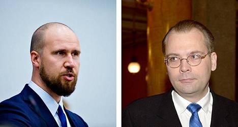 Vihreiden varapuheenjohtaja Touko Aalto (vas.) otti kantaa puolustusministeri Jussi Niinistön reserviläispuheisiin.