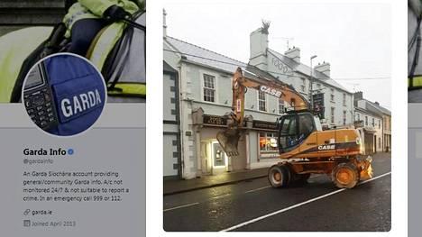 Irlannin poliisi julkaisi viime viikon keskiviikkona Twitter-tilillään kuvan kaivinkoneella tehdystä ryöstön yrityksestä.