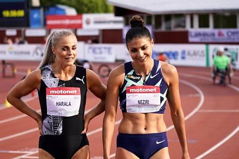 Lotta Harala ja Nooralotta Neziri juoksivat naisten pika-aidoilla toiseksi kolmanneksi ja toiseksi.