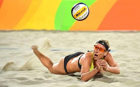 Karla Borger pelasi Rion olympialaisten beach volley -turnauksessa.
