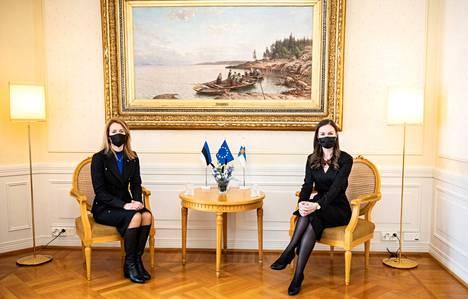 Suomen pääministeri Sanna Marin ja Viron pääministeri Kaja Kallas tapasivat Helsingissä helmikuussa.