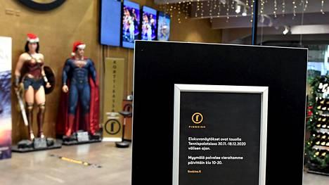 Suljettu elokuvateatteri Helsingissä 30. marraskuuta 2020.