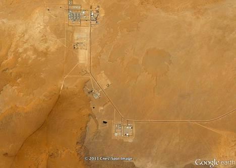 Tigantourinen luonnonkaasutilat Aménasin kaasukentällä Algeriassa.
