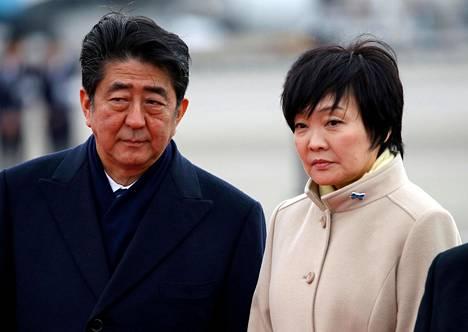 Japanin pääministeri Shinzo Abe ja hänen vaimonsa Akie Abe.