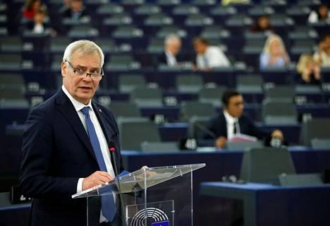 Suomen pääministeri Antti Rinne puhui keskiviikkona Strasbourgissa Euroopan parlamentille.