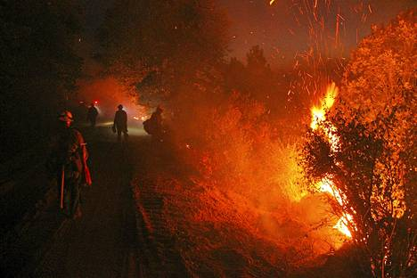 Palomiehet yrittävät estää Yosemiten kansallispuiston maastopalon leviämistä.