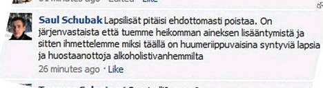 Tämä Saul Schubakin Facebookissa julkaisema päivitys synnytti kohun. Kuvakaappaus Facebookista.
