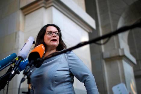 Saksan sosiaalidemokraattien johtaja Andrea Nahles.