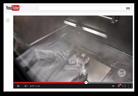 Sophien lohikäärme tulostettiin 3D-tulostimella titaanista. Kuva on kaappaaus videosta.