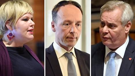 Perheministeri Annika Saarikko (kesk), perussuomalaisten puheenjohtaja Jussi Halla-aho ja Sdp:n puheenjohtaja Antti Rinne.
