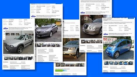 Autot vasemmalta oikealle: Rover Streetwise, Lancia Delta, Infiniti FX35, KIA Opirus ja Peugeot iOn.