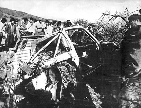 Ari Vatasen auto tuhoutui Argentiinan rallissa sattuneessa onnettomuudessa.