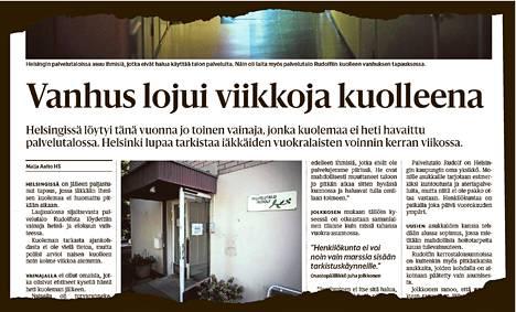 Helsingin Sanomat uutisoi palvelutalosta kuolleena löytyneestä vanhuksesta 6. syyskuuta.