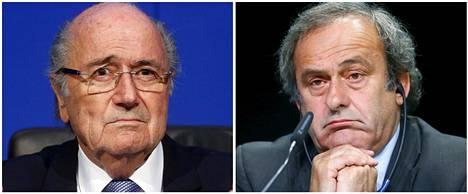 Sepp Blatter (vas.) ja Michel Platini ovat kuuden vuoden toimitsijakiellossa. Blatter siirtyy syrjään Fifan puheenjohtajan paikalta.