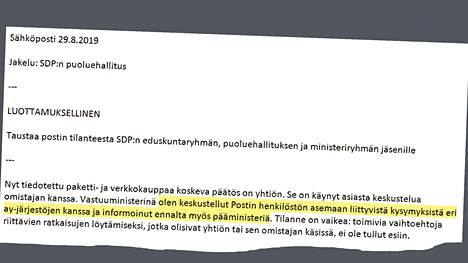 HS sai haltuunsa perjantaina eronneen kunta- ja omistajaohjausministeri Sirpa Paateron sähköpostin. Se on lähetetty 29. elokuuta 2019 – eli samana päivänä, jolloin Posti tiedotti päätöksestään siirtää 700 pakettien lajittelijaa tytäryhtiönsä Posti Palvelut oy:n palvelukseen ja halvemman työehtosopimuksen piiriin. Viesti on lähetetty Sdp:n puoluehallituksen jäsenille.