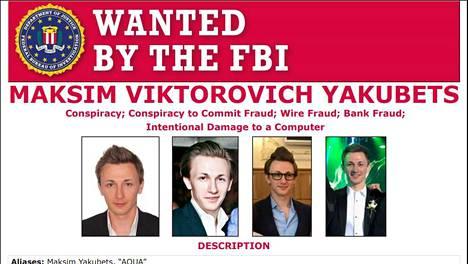 Kuvakaappaus FBI:n etsintäkuulutuksesta.