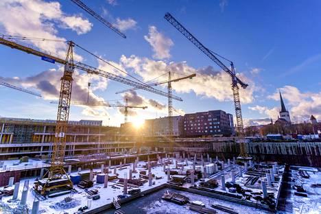Porto Francon rakennustyömaa Tallinnassa joulukuussa 2019.
