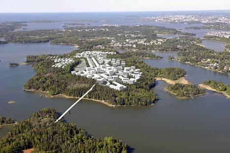 Helsinki haluaa rakentaa Vartiosaareen havainnekuvan kaltaisen 5 000–7 000 asukkaan asuinalueen, joka yhdistyisi kaupungin keskustaan Laajasalon kautta kulkevalla raitiotieyhteydellä.