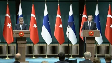 Presidentin Sauli Niinistö ja Turkin presidentin Recep Tayyip Erdogan pitivät yhteisen tiedotustilaisuuden Ankarassa tiistaina.