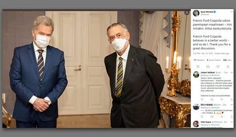 Kummisedistä ja Ilmestyskirja. Nytistä tunnettu elokuvantekijä Francis Ford Coppola tapasi Suomen-vierailullaan presidentti Sauli Niinistön.