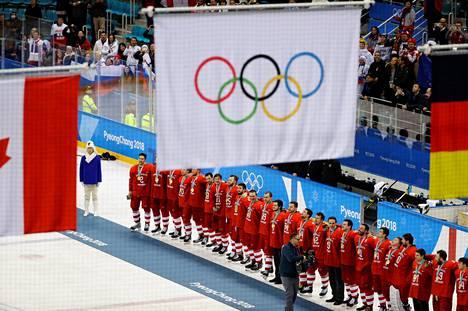 Venäjän kultaa voittanut jääkiekkomaajoukkue Pyeongchangin talviolympialaisissa 2018.
