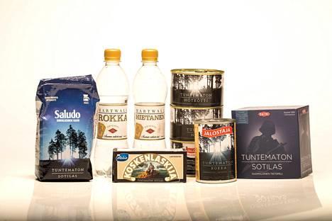 Tällaisia tuotteita Tuntemattoman sotilaan nimellä myydään.