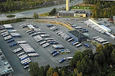 Helsingin bussiliikenteen varikko Ruskeasuolla.