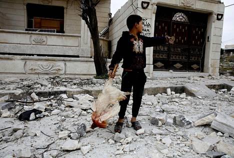 Syyrialaispoika löysi pommituksen raunioista kuolleen kanan Idlibissa perjantaina.