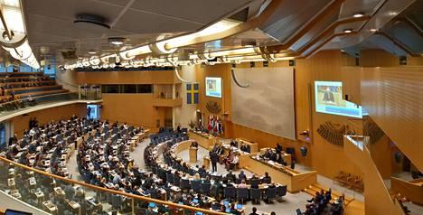 Pohjoismaiden neuvoston 71. istunto alkoi tiistaina Tukholman valtiopäivätalolla.