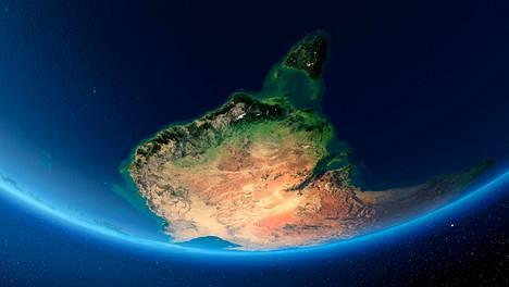 Aurinko nousee maapallon takaa. Kuvassa näkyvät muun muassa Australia ja Tasmanian saari sen edustalla.