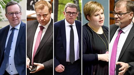 Keskustan Mika Lintilä, Antti Kaikkonen, Matti Vanhanen, Annika Saarikko ja Juha Sipilä.