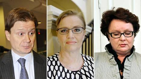 Sami Sarvilinna (vas.), Ritva Viljanen ja Tuula Saxholm.
