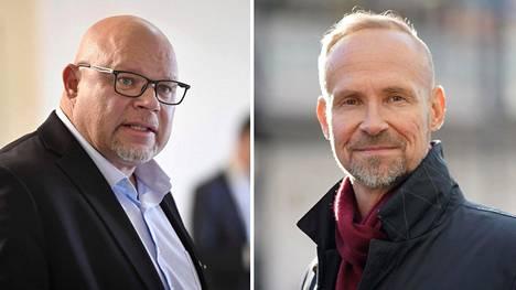 Perussuomalaisten kansanedustaja Ano Turtiainen (vas.) ja ylikomisario Jari Taponen.