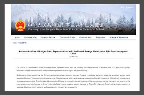 Kiinan suurlähetystö julkaisi torstaina tiukkasanaisen tiedotteen EU:n ja Kiinan pakotekiistasta.