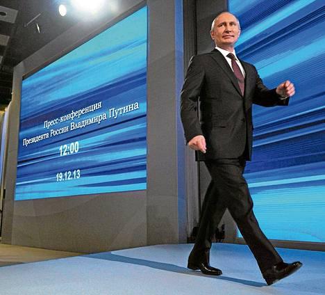 Venäjän presidentti Vladimir Putin saapui torstaina suureen vuosittaiseen lehdistötilaisuuteensa Moskovassa.
