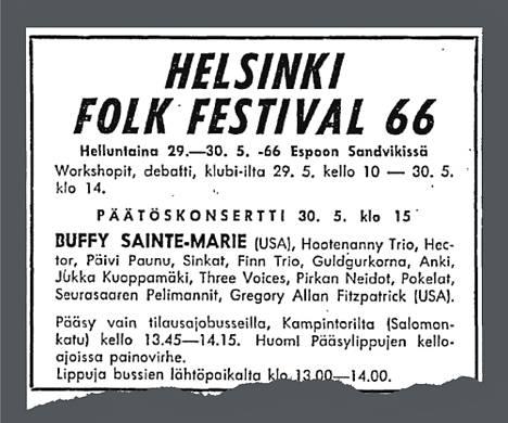 Helsinki Folk Festival -tapahtuman mainos Helsingin Sanomissa.