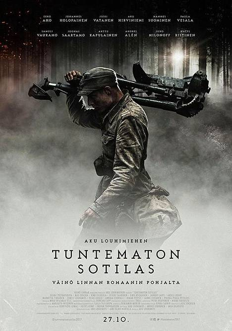 Elokuvan julisteessa Määttä (Max Ovaska) kantaa konekiväärin jalustaa.