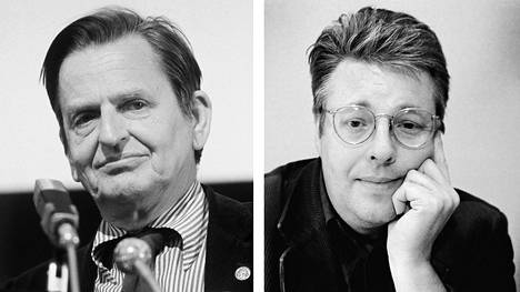 Toimittaja ja kirjailija Stieg Larsson (oik.) tutki Olof Palmen murhaa.