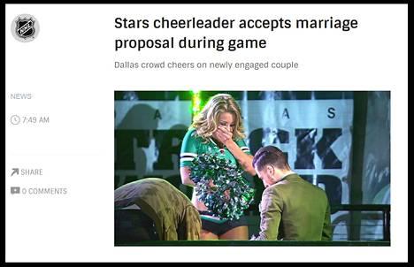 Dallas Starsin cheerleaderia kosittiin erätauolla kun joukkue kohtasi New Jersey Devilsin viime yönä. Ruutukaappaus NHL:n sivulta.