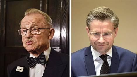 Helsingin yliopiston valtiosääntöoikeuden emeritusprofessori Mikael Hidén (vas.) ja Turun yliopiston julkisoikeuden professori Janne Salminen.
