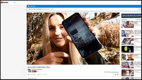 Kuvakaappaus Brooke Amelia Petersonin julkaisemasta Youtube-videolta.