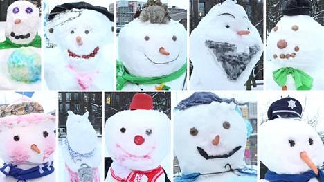 Kansanedustajien lumiukkoluomuksia.