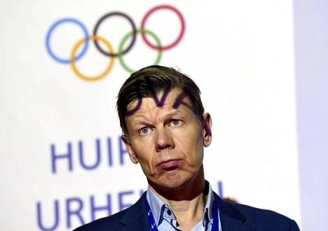 Toimitusjohtaja Mikko Salonen Suomen Olympiakomitean tilannekatsauksessa Helsingissä tammikuussa 2019.